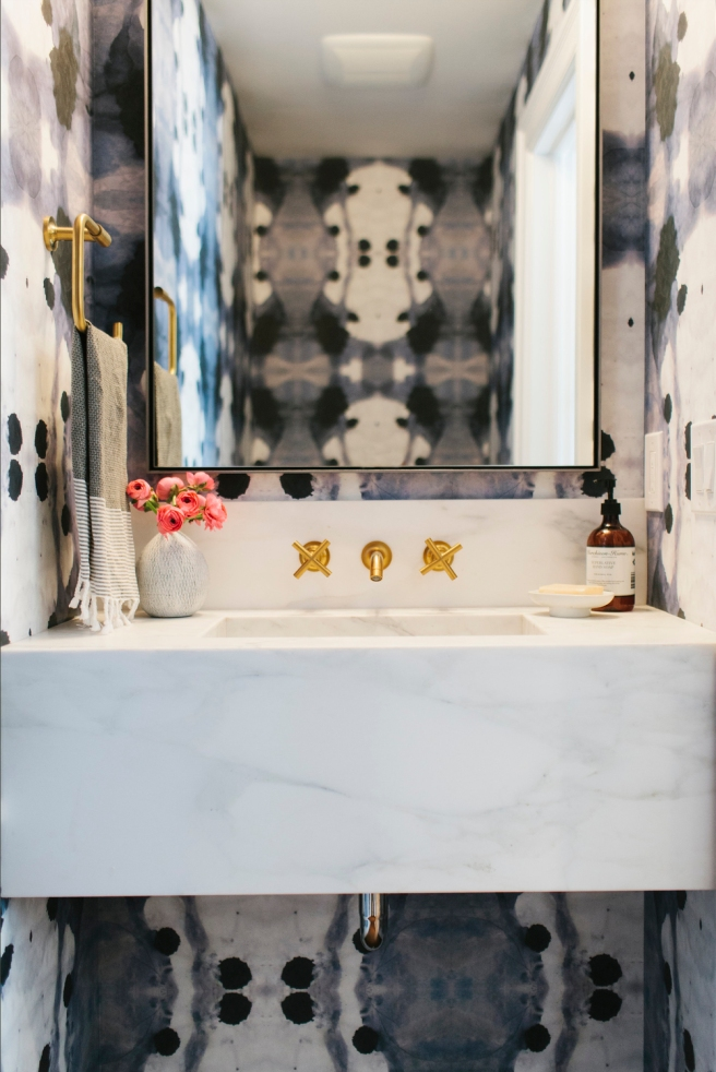 Navy+++Brass+++Floating+Marble+Sink+--+Studio+McGee